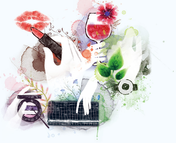 PSD fashion watercolor women element