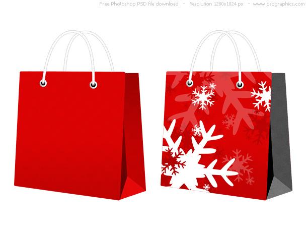 PSD red Christmas bag