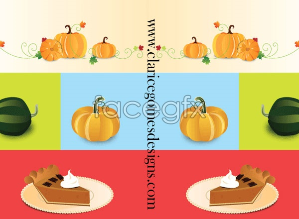 Pumpkin and cake vector