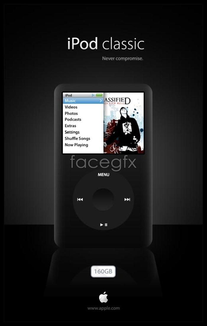 Realistic Apple iPod Apple MP3 music PSD