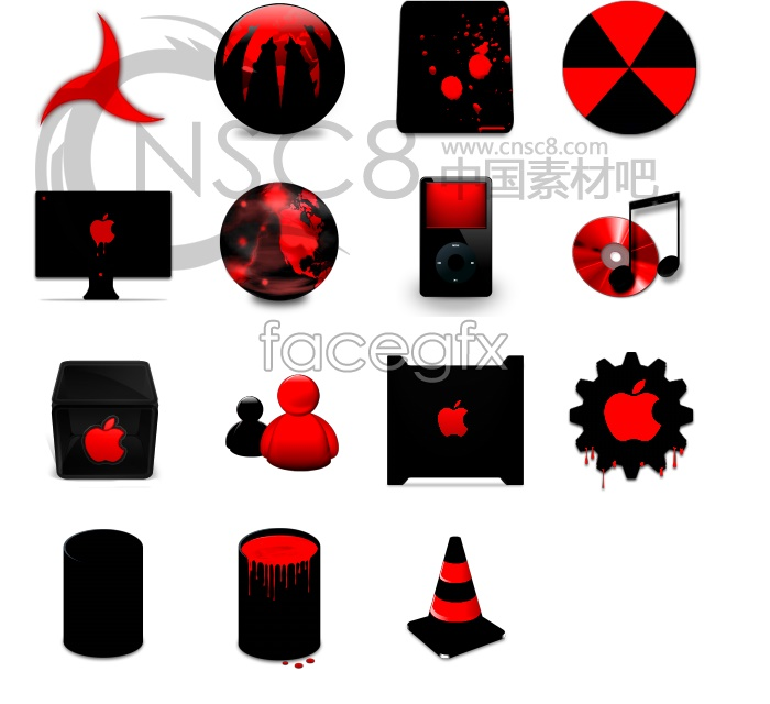 Red and black Apple desktop icons