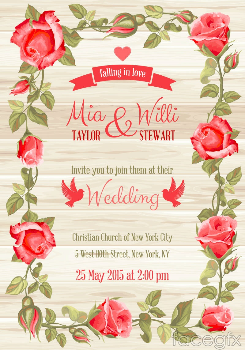 Red rose border wedding invitation card vector Over millions – Red Rose Wedding Invitation