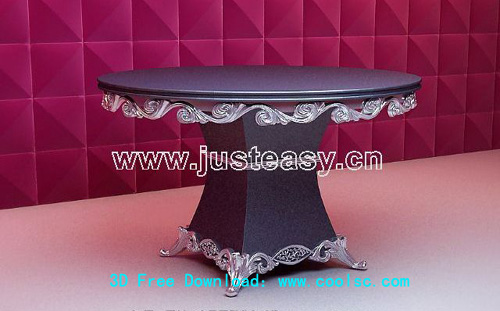 Refined 3D model of Western-style circular wooden table (with material)