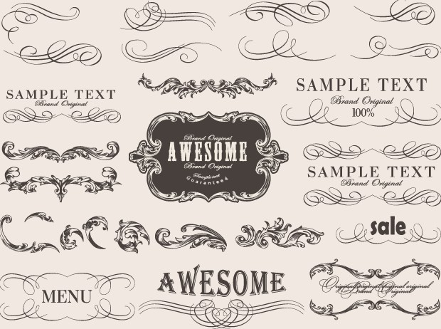 Retro calligraphic frame labels decor vector free