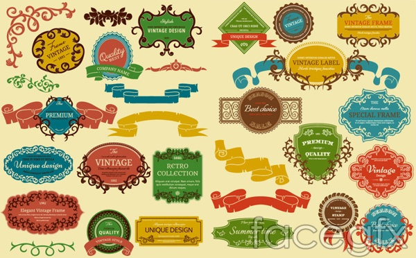 Retro label color sticker vector