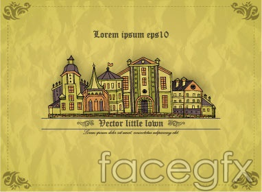 Retro patterned small house vector