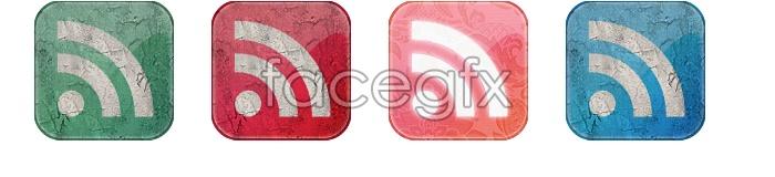 Retro-style feed icons