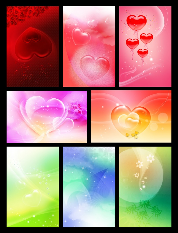 Romantic heart shaped backgrounds PSD