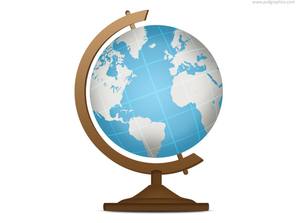 School globe, geography icon (PSD)