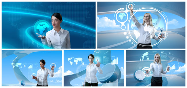 Science and technology business woman PSD