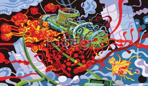 Science fiction submarine abstract paintings vector