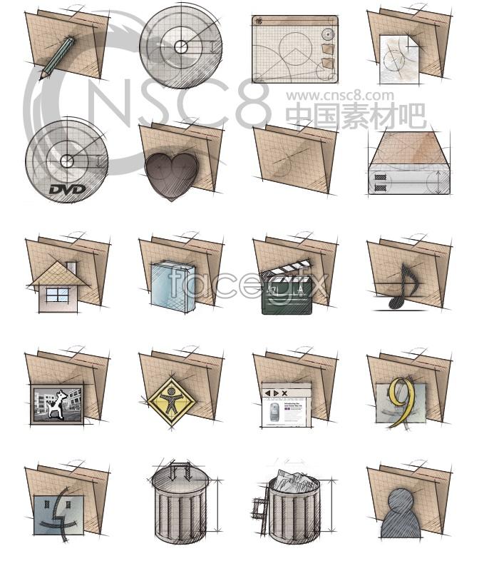 Scribble sketch folder icon