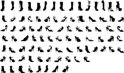 series of black and white design elements vector 17 female shoe silhouette