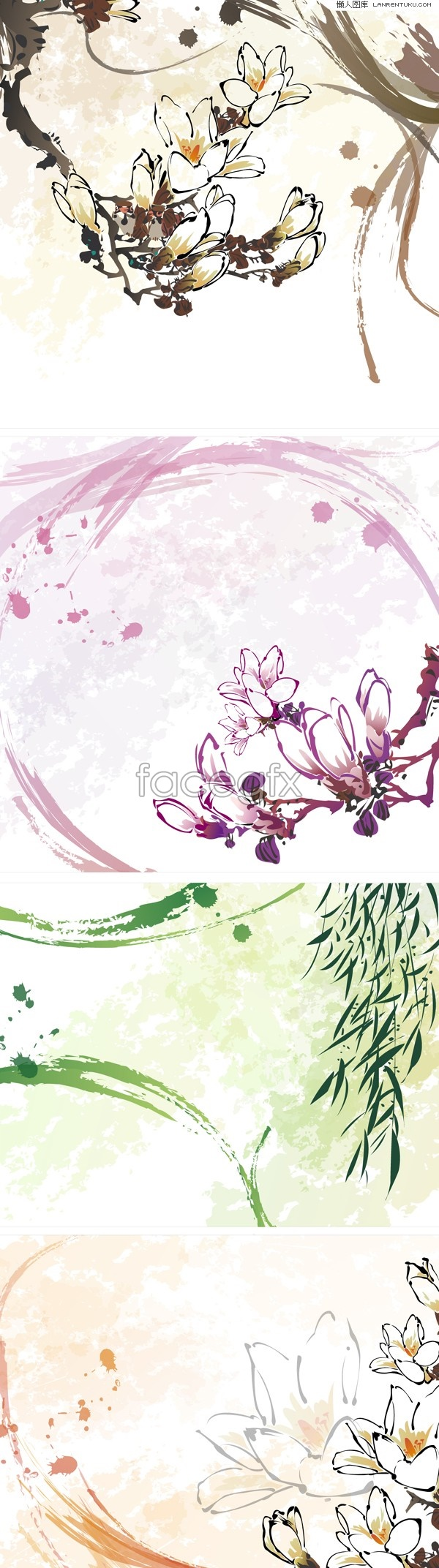 Several classic hand-painted flower background vector