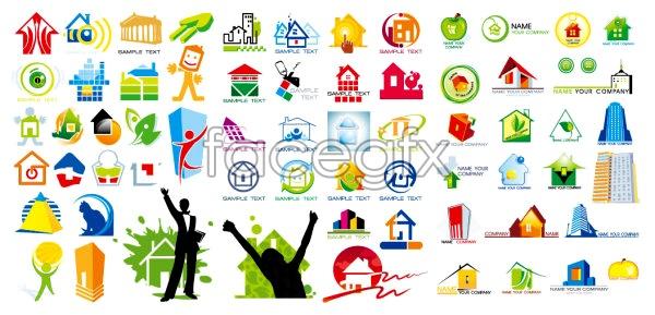 Several House Theme Graphic Design Logo Vector Over