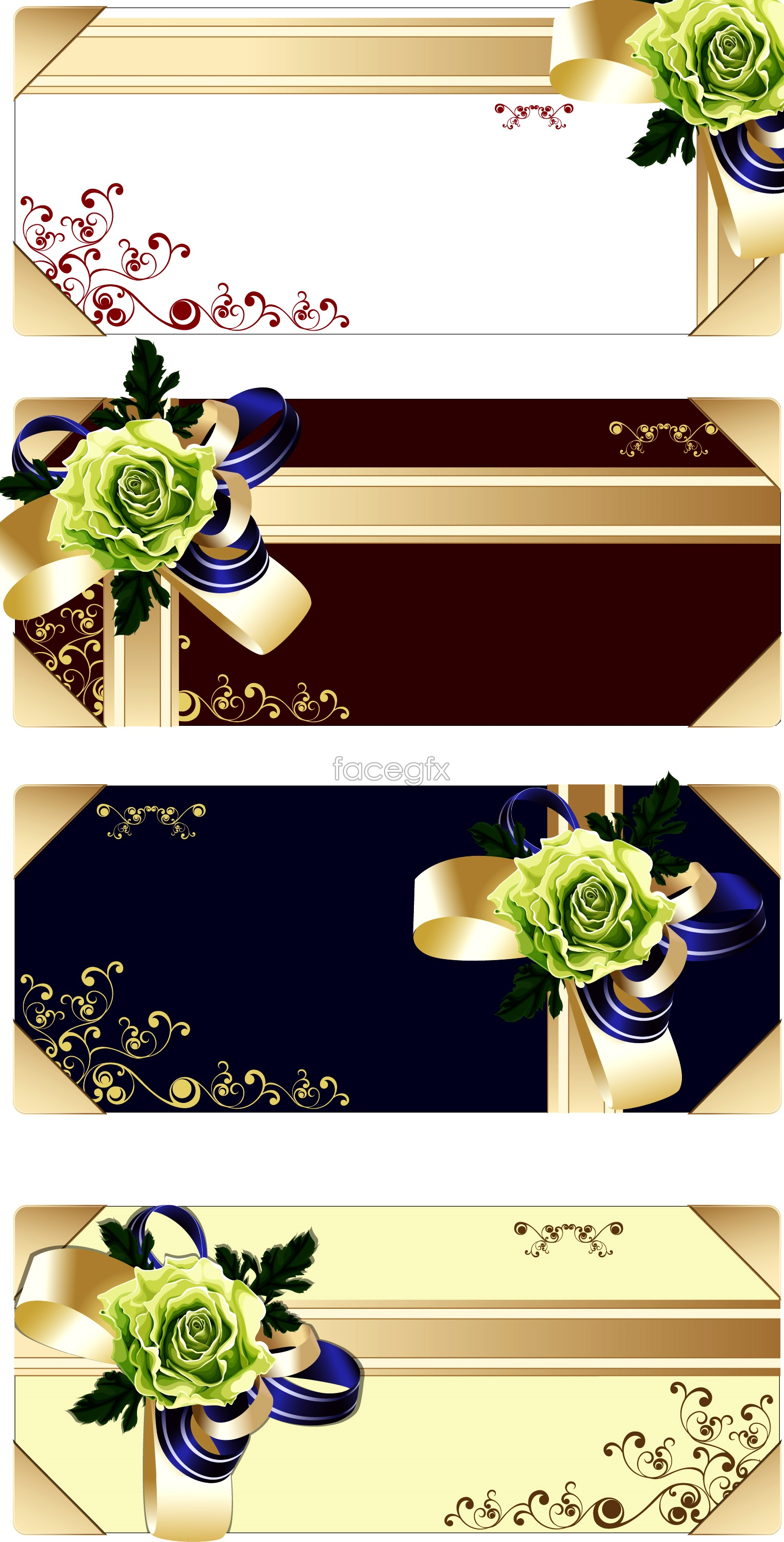 Several kinds of flowers Ribbon gift card vector