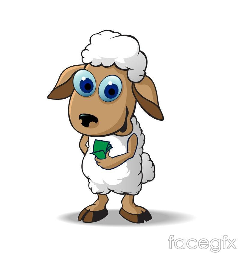 Sheep cartoon eye vector