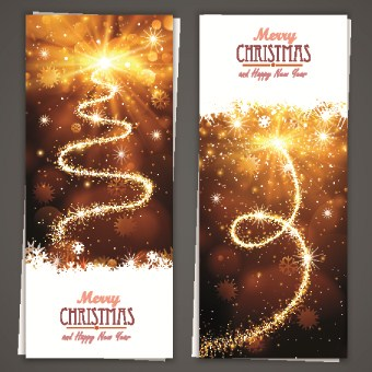 Shiny 2014 Merry Christmas banners design vector 01