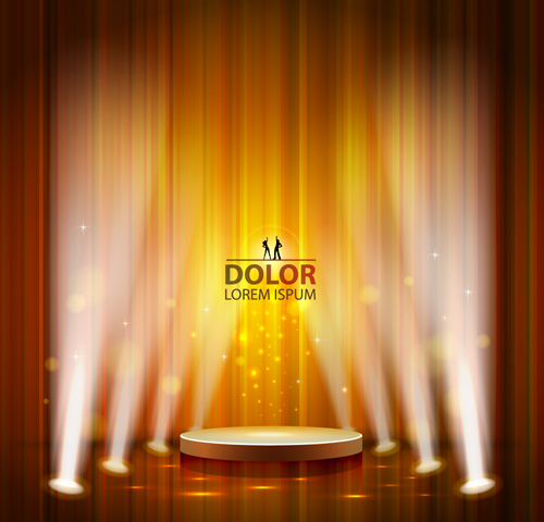 Shiny Stage spotlights design elements vector 02 free