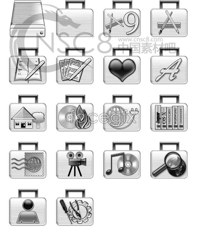 Silver suitcase icon series