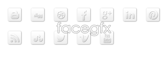 Simple white social media icons