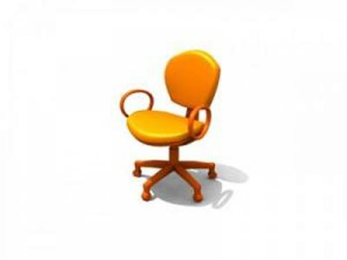 Simple yellow swivel chair 3D Model