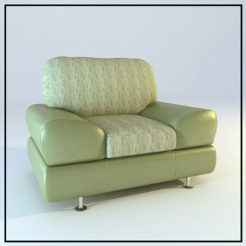 Single bright green sofa 3D Model
