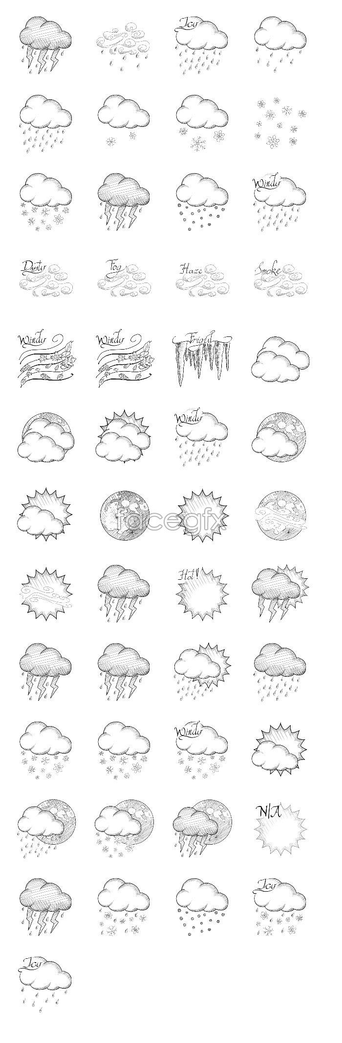 Sketch weather forecast icons