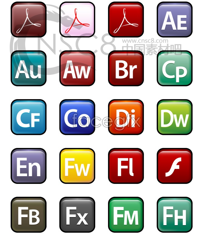 Sleek XP Adobe software icons