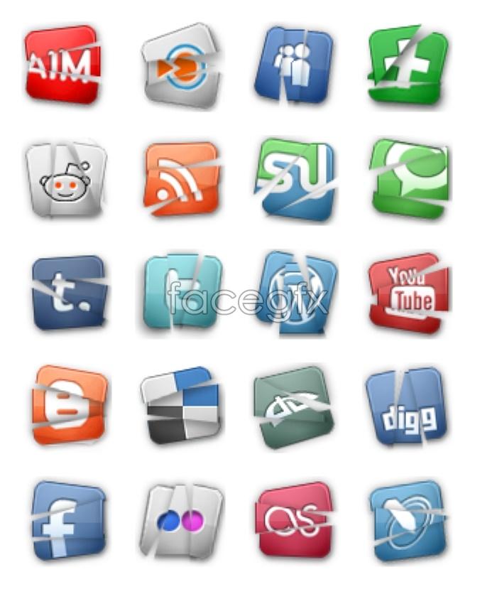 Small tear social media icons
