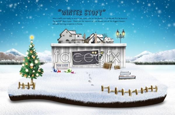 Snow Christmas PSD template