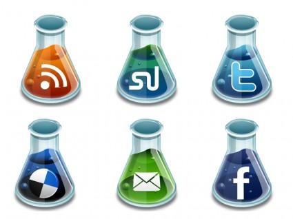 Social media beakers icons pack