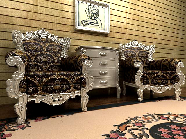 Sofa combination of neo-classical Champagne Gold 3D Model