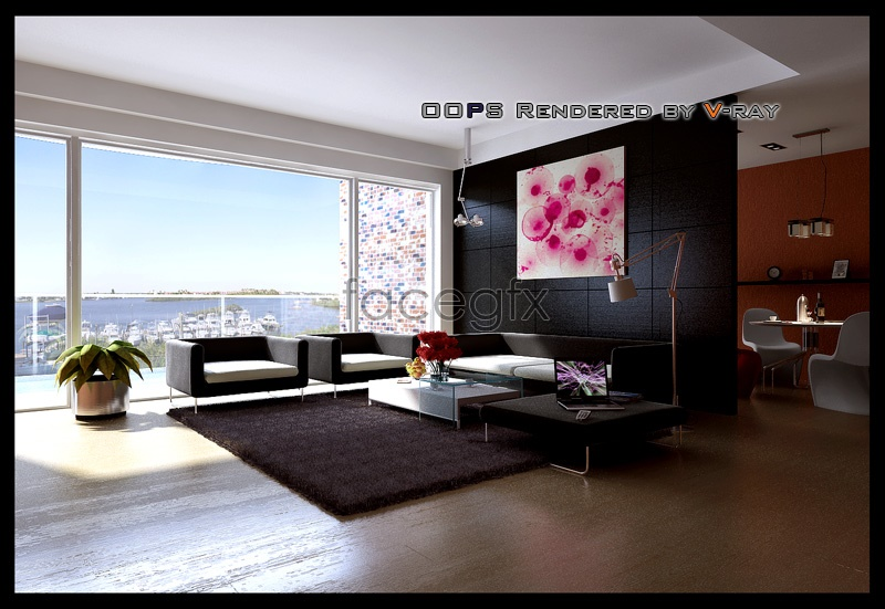 Spacious living room models 3d model over millions for Living room designs 3d model