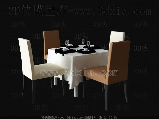Square table and chairs 3D Model