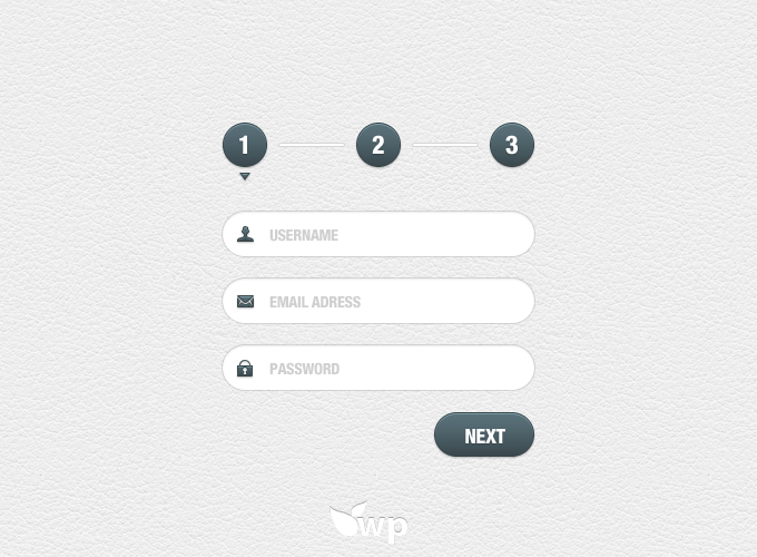 Step by Step Sign Up PSD