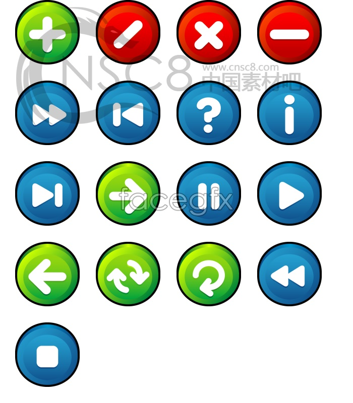Stereo button vector icons