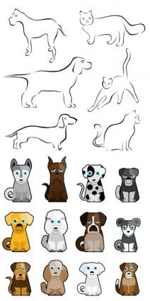 stick figure cartoon dog vector