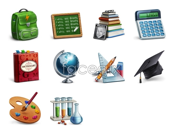 Study research supplies icons