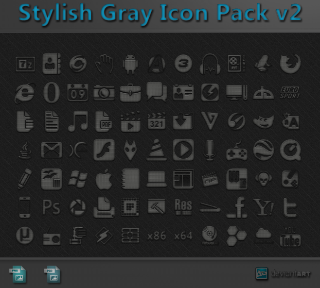 Stylish gray icon pack v2 + psd – Over millions vectors, stock