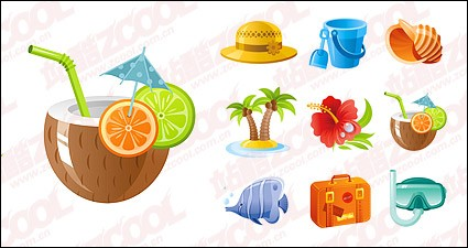 Subject exquisite seaside tourist icon vector material