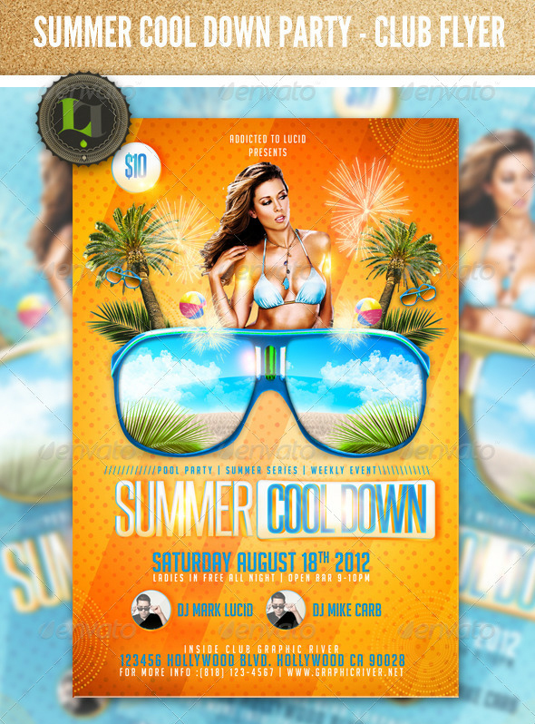 summer cool down pool party psd flyer template over millions