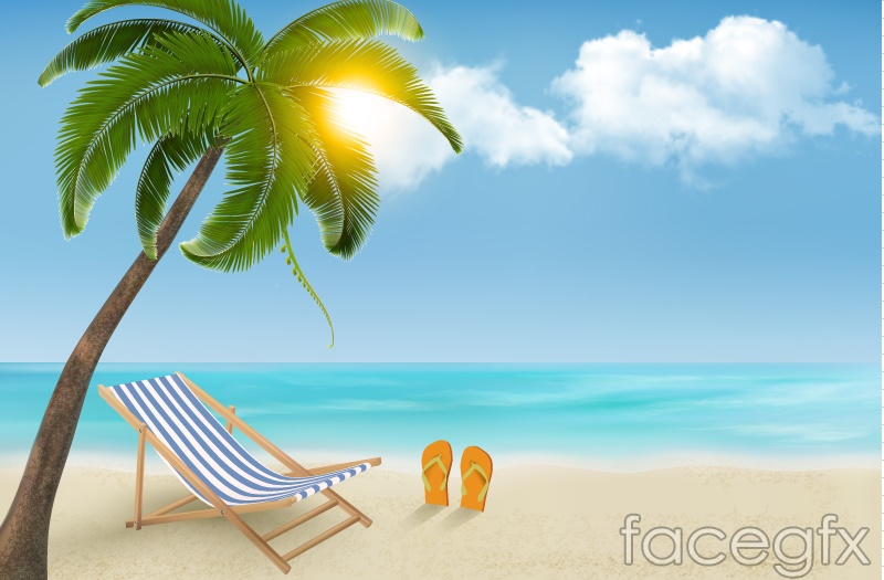 Summer Sunny Beach Background Vector Over Millions
