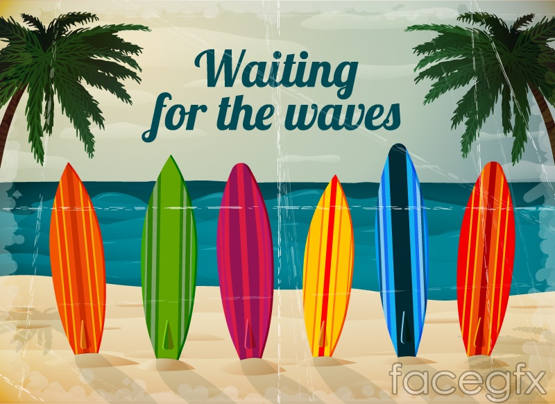 Summer surfing background vector