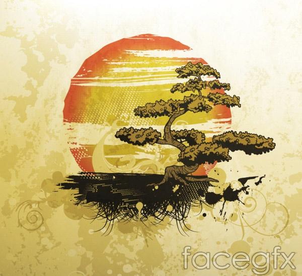 Sunset pines pattern vector