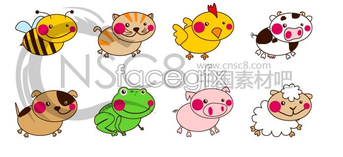 Super cute cartoon animal icons