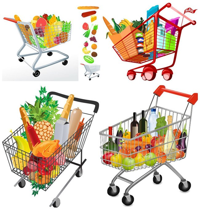 Supermarket cart items vector map