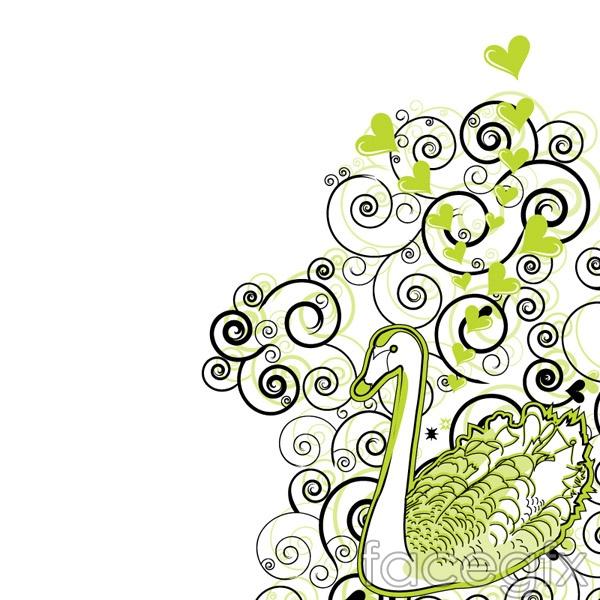 Swan pattern background vector