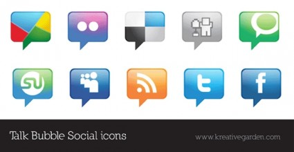 Talk Bubble Vector Social Icons Set