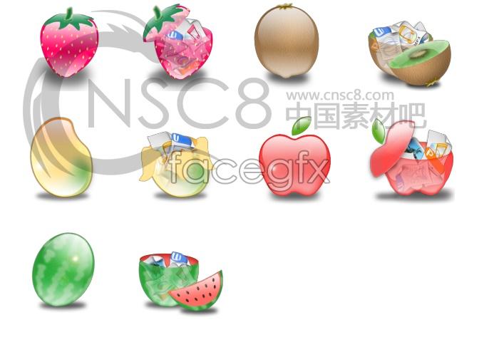 Tempting fresh fruit icons